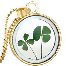 Glücksbringer Gold Glas Anhänger Echt Blume Kleeblatt Glücksklee Damen Halskette