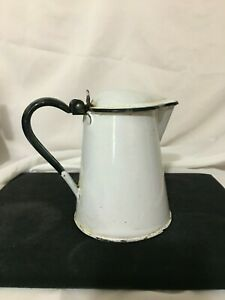 Vintage Enamelware  - Syrup/Coffee/Tea Pitcher - Black and White