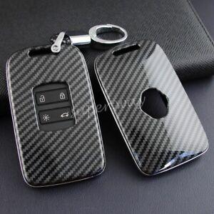 For Renault Carbon Fiber Hard Shell Smart Key Fob Chain Case Cover Kadjar Espace
