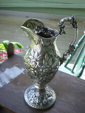Antique Romantic Era 1865 S. Kirk & Son Repousee Coin Silver Ewer 819 Grams
