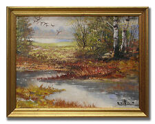 BERTIL WIDBRANT / FOREST LAKE - Charming Original Swedish Oil Painting