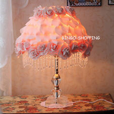 French Rose Flower Bedside Desk Table Lamp with Crystal Base Style B