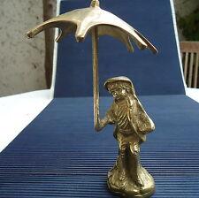 Garçon & Parapluie Bronze Doré Massif Creux 18x11 Cm - 400 Grs Original Décorati