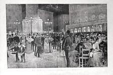 Stampa antica ROMA Piazza Colonna Concerto musica di notte 1885 Old print Rome
