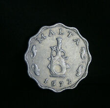 Malta 5 Mils 1972 Aluminum World Coin KM7 Earthen Lampstand
