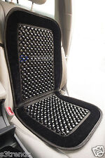 Natural Wood Bead Seat Cover Seat Cushion Massage Car Office - Black