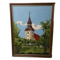 Vtg Church Steeple  Hand Made Finished Framed Needlepoint  Picture