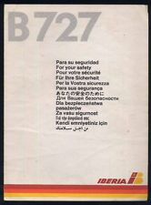 IBERIA spanish airline Boeing B 727 SAFETY CARD airline brochure ee e170