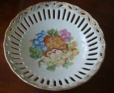 "Vintage Japan Trimont Ware 8"" Reticulated Bowl Fruit Design Scalloped Gold Trim"