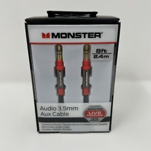 Monster 8-FT 2.4 M AUDIO 3.5 MM AUX CABLE Gold Contacts HD Audio  RED