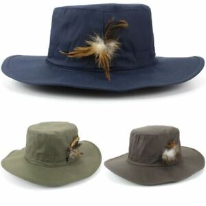 Fishing Hat Wide Brim Outback Cotton Bush Feather Blue Brown Green