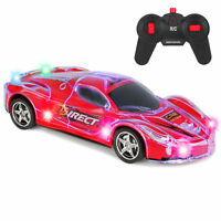 BCP Kids 27Mhz Remote Control Racing Car RC Toy w/ Flashing LED Lights - Red