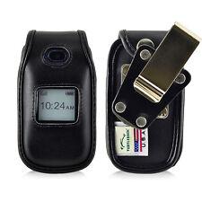 ZTE Z222 Flip Phone Fitted Case Black Leather Metal Clip Turtleback
