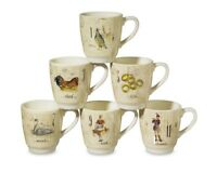 SALE - WILLIAMS SONOMA 12 Twelve Days of Christmas Set of (6) Mugs Gorgeous