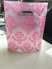 """100 BAGS OF 12x15"""" DAMASK PINK ON TRANSPARENT PLASTIC CARRIER BAGS / BOUTIQUE"""