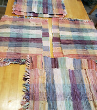 Set of 8 Vintage Woven Multi Color Heavy Weight Place Mats Rustic Sturdy Cotton
