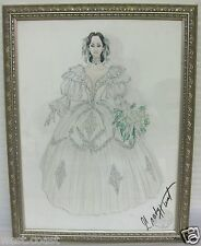 Rare Original Signed Grady Hunt Watercolor Costume Sketch Designers Guild Stamp