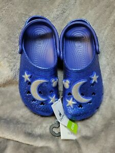 """NWT Sold Out Disney """"Wishes Come True"""" Sparkling Blue Glitter Crocs 7M/9"""