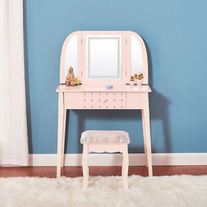 Vanity Makeup LED Mirror Dressing Table Stool Set Bedroom Makeup Desk W/Drawer.