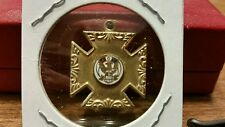 Antique Vintage Silver Fraternal Order of Eagles Cross Pendant FOE Enamel