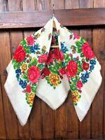 Russian wool scarf , babushka wool scarf. russian shawl. Vintage Wool Shawl