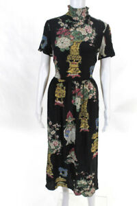 RED Valentino Womens Black Printed High Neck Dress Size 8 12527898