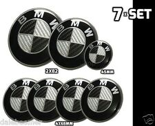 7x Für Bmw Carbon Schwarz weiss Emblem Logo Motorhaube 2x82mm 4x68mm 1x45mm