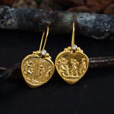 925 Silver Handmade Heart Shape Roman Art Coin Earrings W/Topaz 24K Vermeil