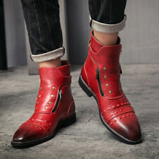 Mens Formal Ankle Boots Pointy Toe Chukka Polish Rivet Zip Business Club Shoes