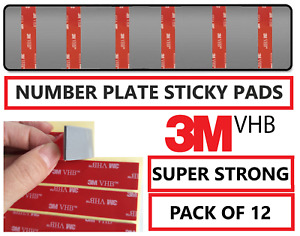 12 x Number Plate Sticky Pads Double Sided Car Number Plate Fixing Strong Tape