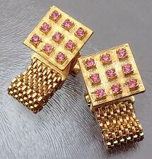 Vintage Pair of Pink Rhinestone Wrap Around Cufflinks Gold Tone Signed Lisa
