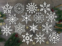 Set of 15x Laser Cut Christmas Wooden Snowflake Ornaments, Wood Decoration
