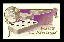 Fortune Telling Dominoes Vintage Postcard Lounsbury 1907 Wealth & Happiness