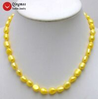 "7-9mm Yellow Baroque Natural Freshwater Pearl Necklace for Women 17"" Chokers"