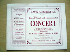 1910 C.W.S. ORCHESTRA, GRAND VOCAL & INSTRUMENTAL CONCERT PROGRAMME, 26 January
