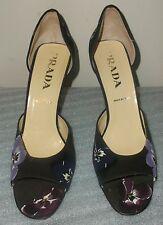 Authentic Prada Open Toe Pumps Heels Purple Floral Leather Sz 38.5 USA 8.5