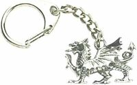 Welsh Wales Dragon Keyring Solid Pewter Metal Souvenir Gift Key Chain Ring