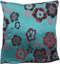 Turquoise & Pink wovern Brocade cushion cover made in the UK