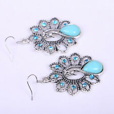 Women 925 Tibet Silver Filled Ethnic Turquoise Tassel Dangle Earring Ear Studs