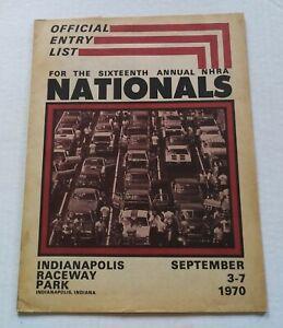 Vintage 1970 16th NHRA Nationals Official Entry List Booklet Drag Racing Program