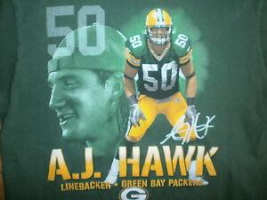A.J. HAWK GREEN BAY PACKERS T SHIRT Football NFL OSU 50 AJ Adult SMALL