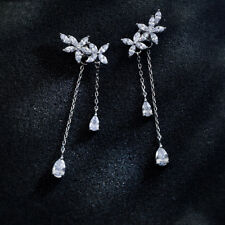 Ohrstecker Ohrhänger Blumen Tropfen Lang echt Sterling Silber 925 Damen Ohrringe