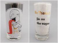 No Thanks! I'm On The Wagon 1960s Vintage Novelty Cartoon Drink Glass Tumbler
