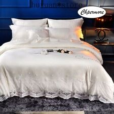 European Washed 100% Silk Bedding Set Cotton Duvet Cover Sets Sheets Pillowcases