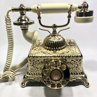 Vintage Gold Radio Shack Rotary Desk Phone Model # 43 323a