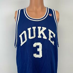 Champion Duke Blue Devils Basketball Replica Jersey Vtg 90s NCAA College Blue 48