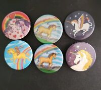 Lot of 6 Vintage Pin Back Buttons - Mystical Unicorns, Hearts and Rainbows