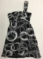 EXCLUSIVE by Crossroads Women's Cocktail Dress size 8 Black White 1 Shoulder