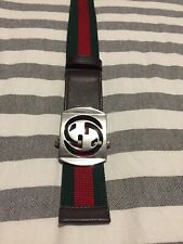 Gucci Green Red Web Canvas Interlocking G Belt 95cm