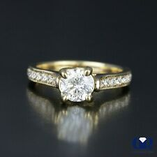 1.05 Carat Round Cut Diamond Engagement Ring In 14K Yellow Gold